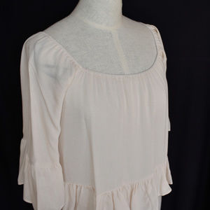 Forever 21 Blouse Top S Cream Elastic Neck Line Ru